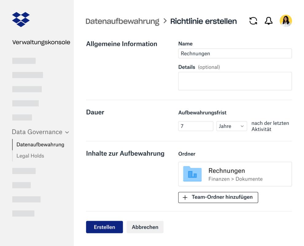 Formularfelder für das Erstellen einer Datenaufbewahrungsrichtlinie innerhalb der Dropbox Business-Verwaltungskonsole