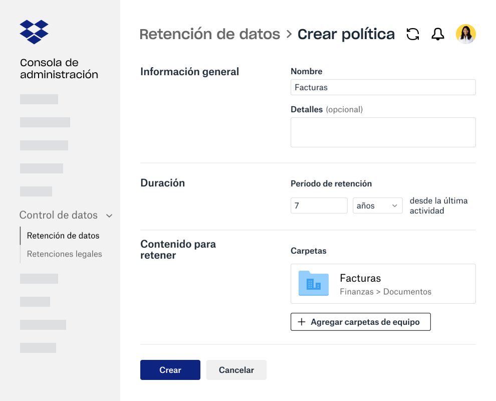 Diseña campos para crear una política de retención de datos dentro de la consola de administración de Dropbox Business