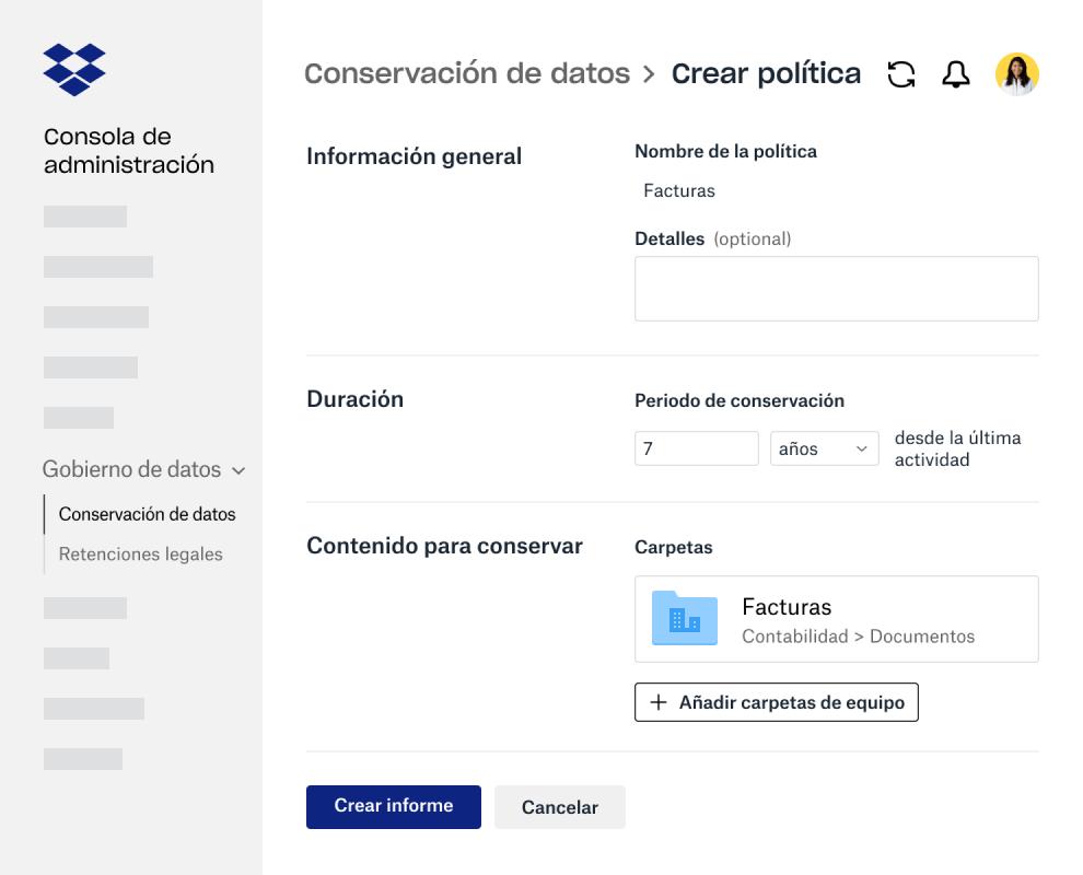Campos de formulario para crear una política de retención de datos en la consola de administración de Dropbox Business