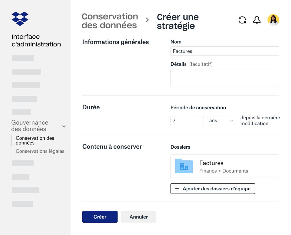 Champs de formulaire pour la création d'une règle de conservation des données dans l'interface d'administration DropboxBusiness