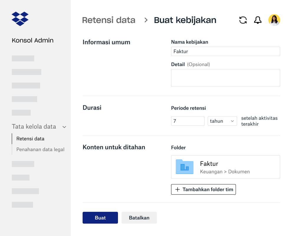 Kolom formulir untuk membuat kebijakan retensi data di Konsol Admin Dropbox Business
