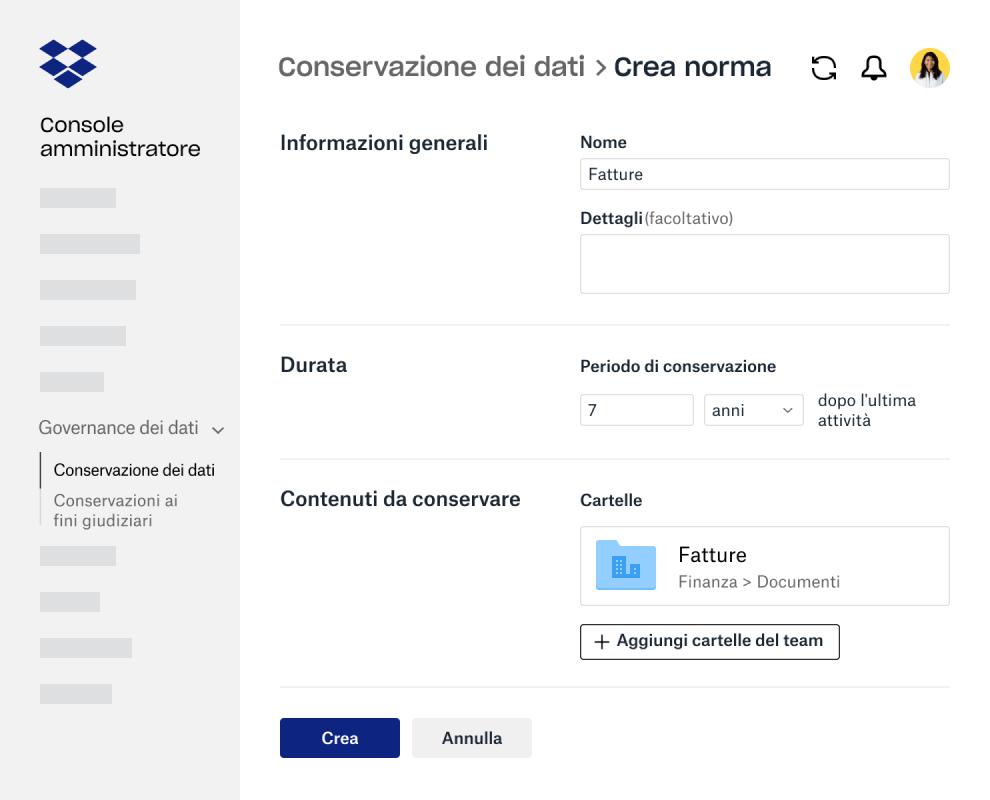Campi del modulo per creare criteri di conservazione dei dati nella Console amministratore di Dropbox Business