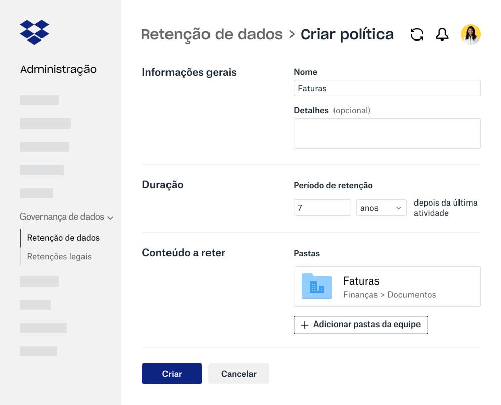 Campos de formulário para criar política de retenção de dados na Administração do Dropbox Business