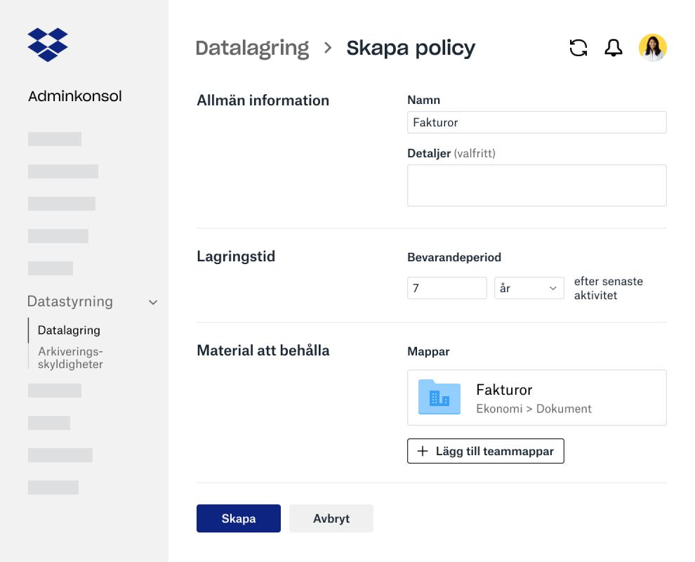 Formulärsfält för att skapa en datalagringspolicy i Dropbox Business-adminkonsolen
