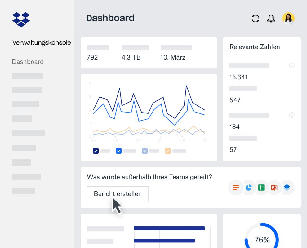Analyse-Dashboard innerhalb der Dropbox Business-Verwaltungskonsole