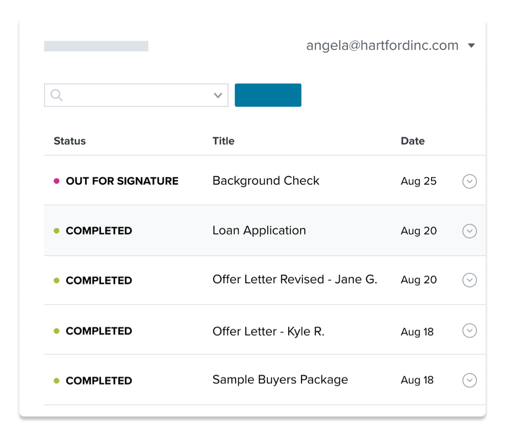 List of documents with status in the HelloSign eSignature workflow.