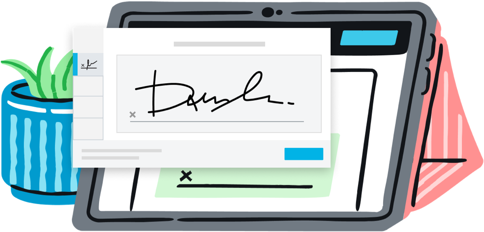 Illustration of a tablet with a signature box on the screen and a signed signature box over the tablet.