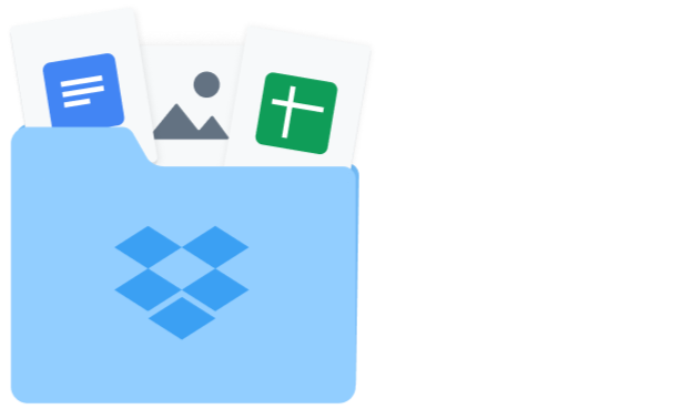 Dropbox folder containing a Google Doc, Google Sheet and image files.