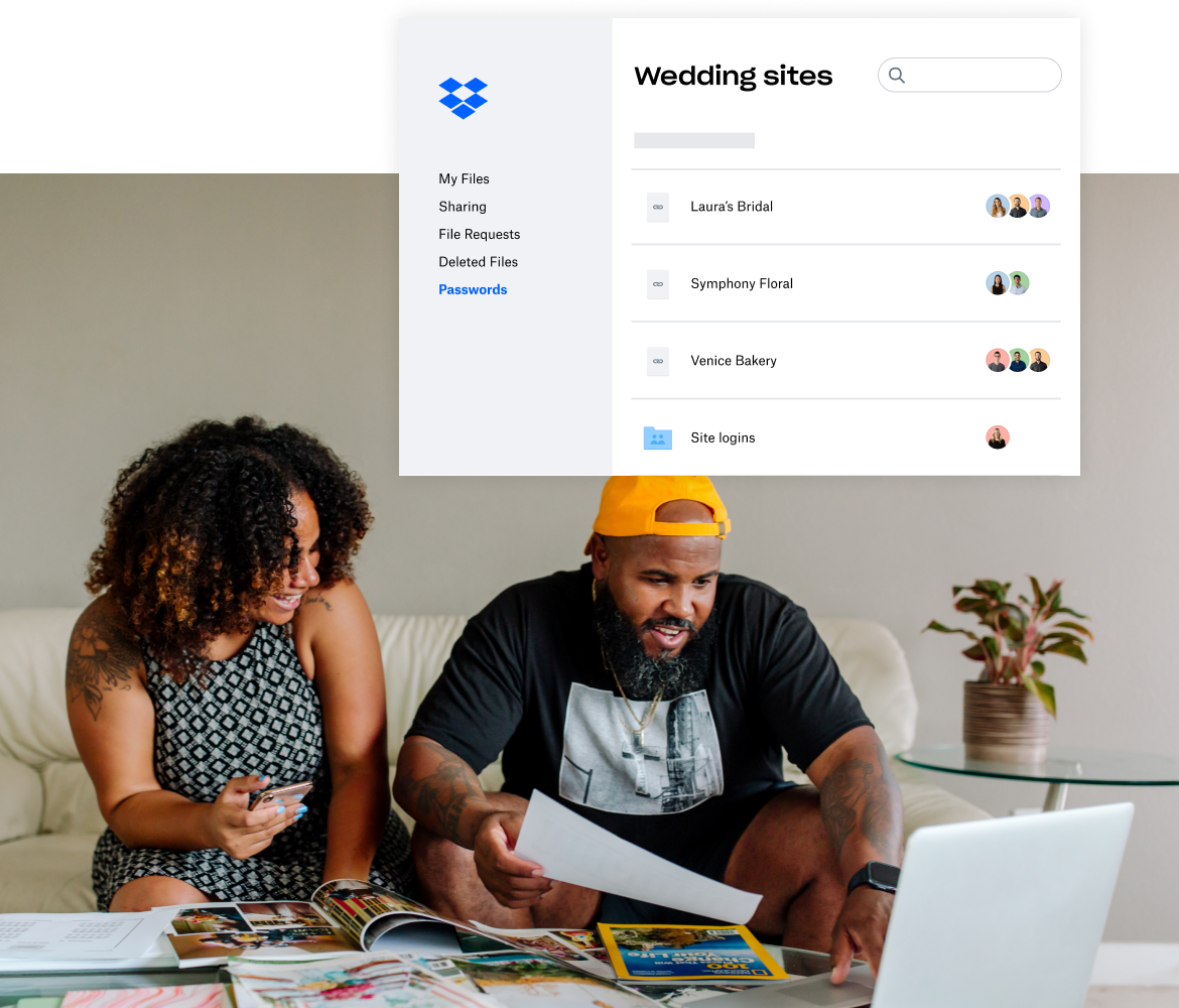 Image of a couple planning a wedding, with a visual of a Dropbox folder titled 'Wedding Sites'.