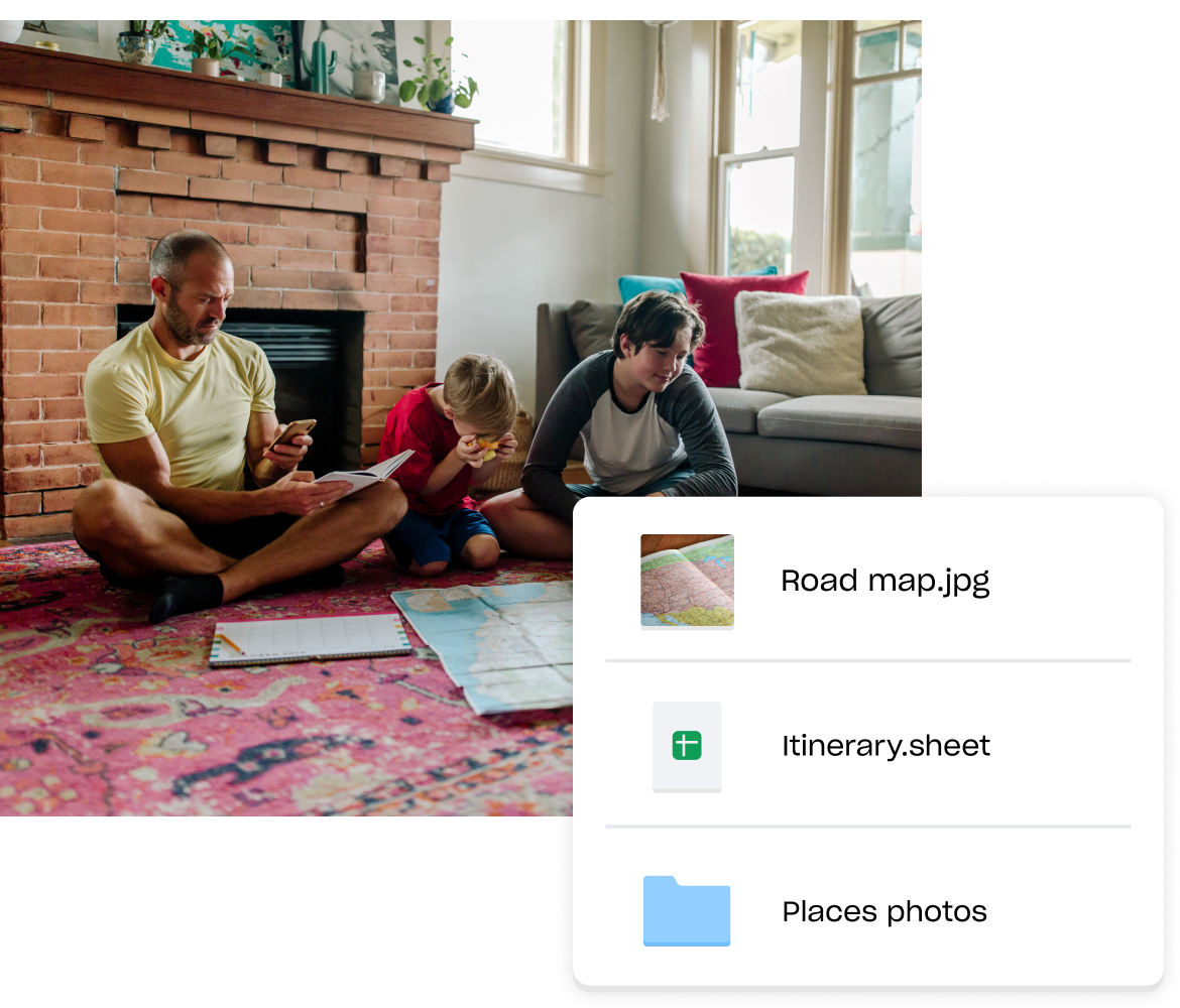 Image of a family looking at a map with a visual of itinerary and other travel-related files in Dropbox.