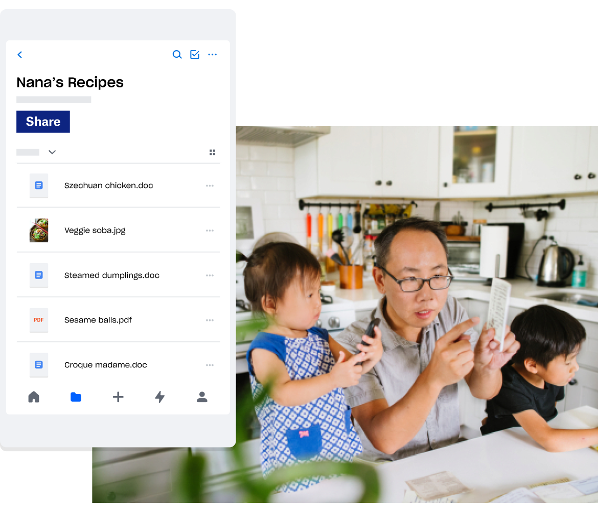 Image of a family in a kitchen, with Dropbox app open to a folder titled 'Nanna's Recipes' with recipe files inside.