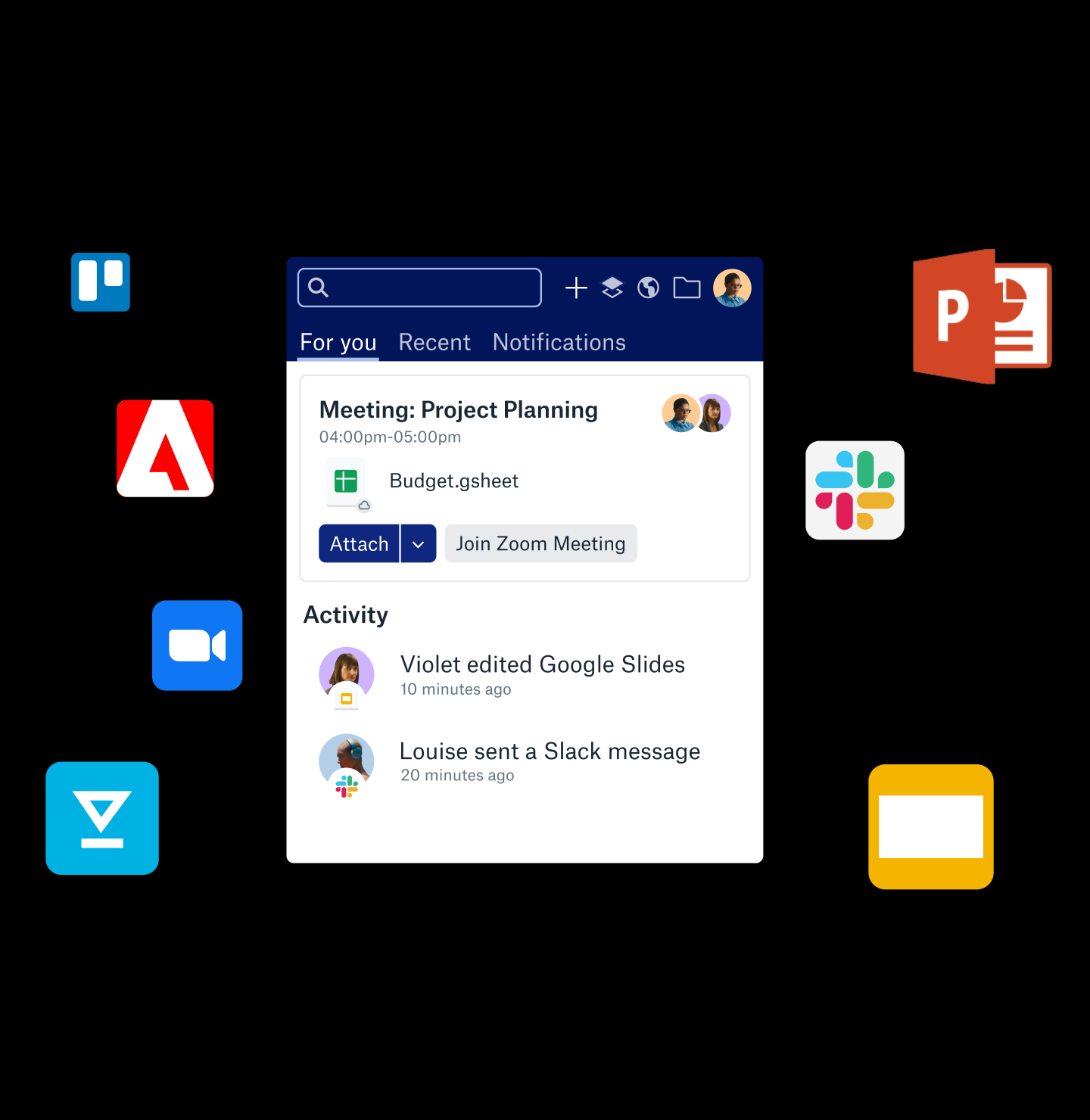 Various app and tool icons around Dropbox Assistant Tray.