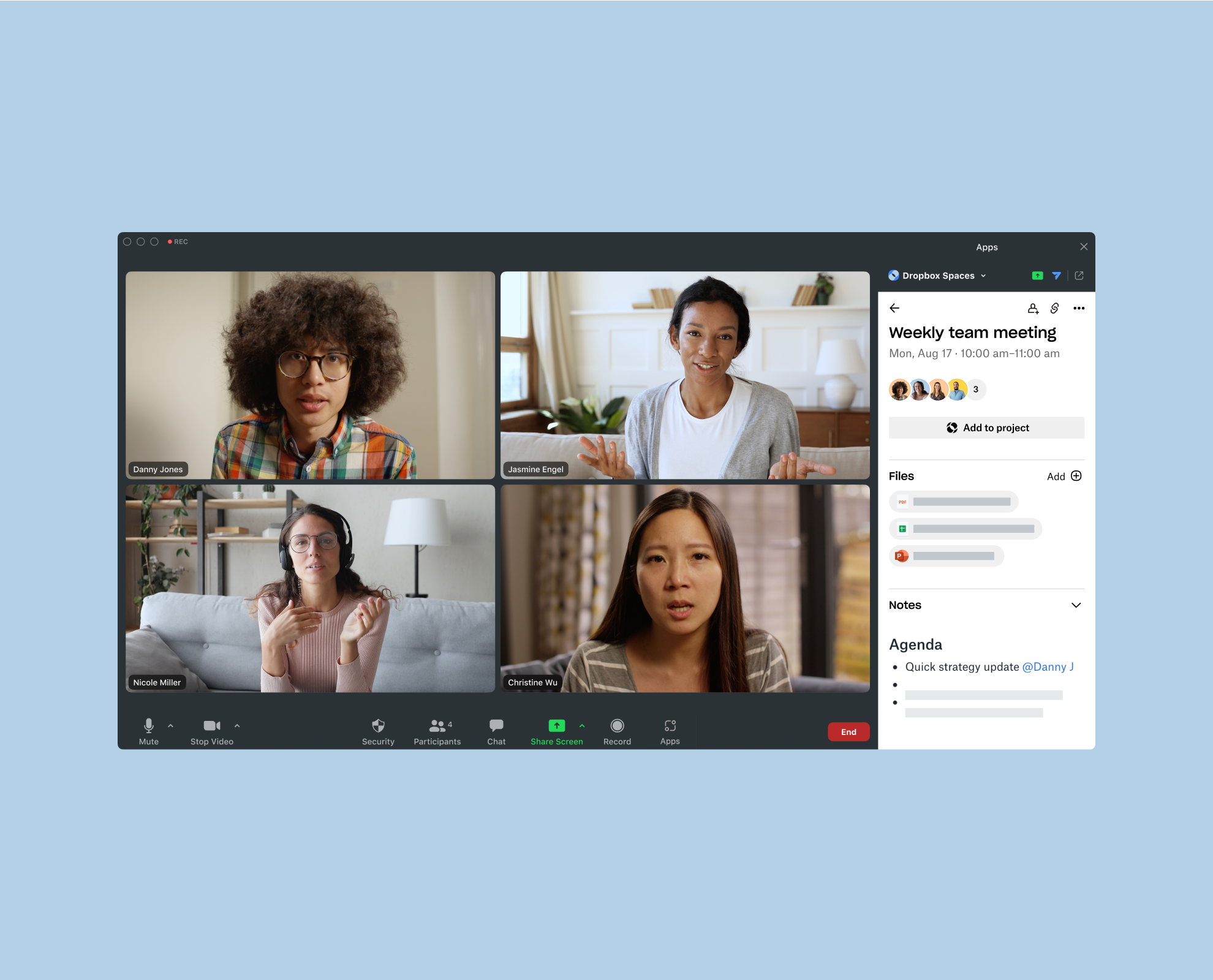 Image showing the Dropbox Spaces app for Zoom, which appears to the side of your Zoom Meeting with files and an agenda.