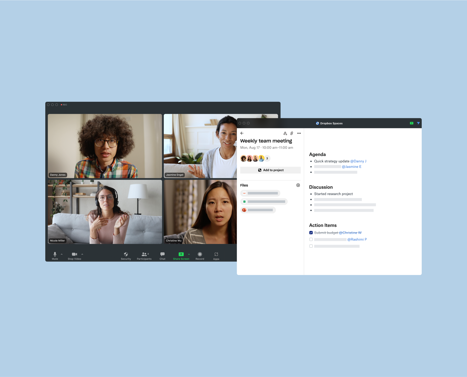 An image that shows how to view your meeting notes next to your Zoom Meeting.