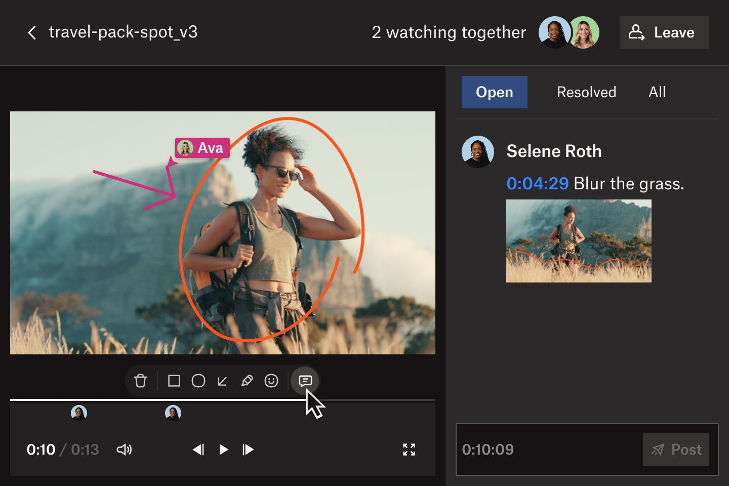 Video project in Dropbox Replay with person in frame circled and arrow drawn on, and time-stamped comment on side