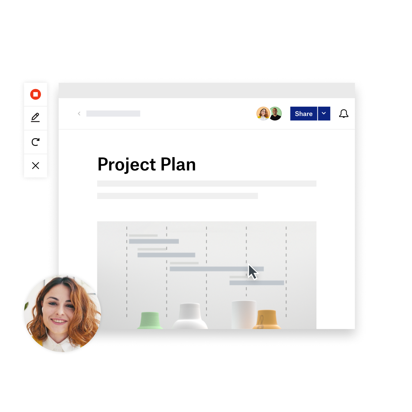Someone hovers cursor over Project Plan, with video of presenter in corner and toolbar on side in Dropbox Capture