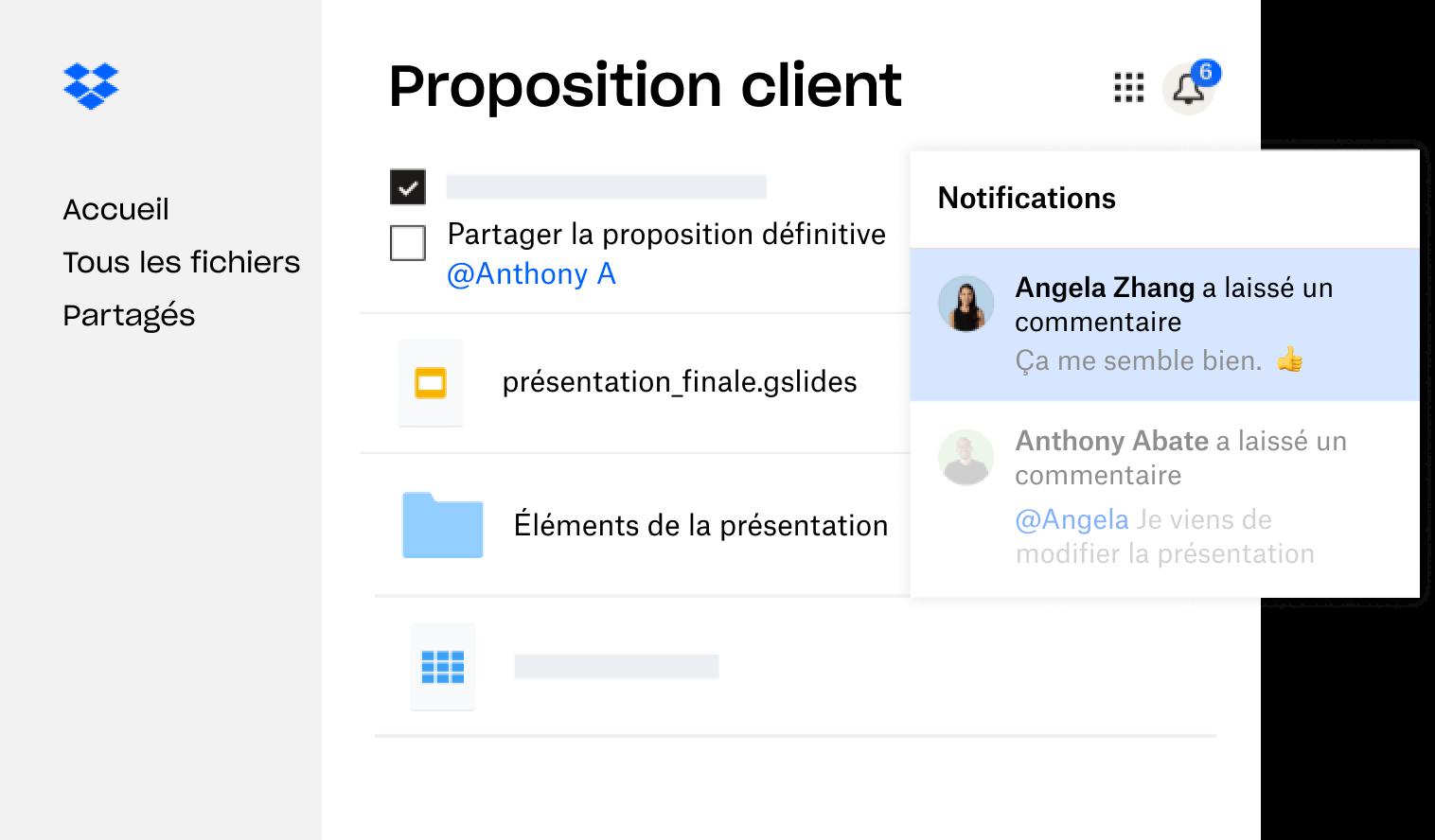 Une proposition client créée dans Dropbox est partagée avec plusieurs utilisateurs qui ont laissé des commentaires.