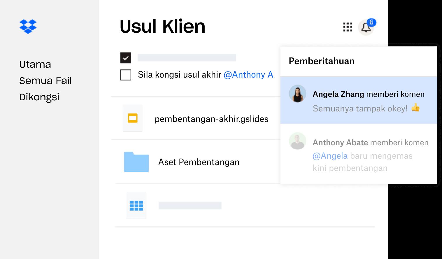 Usul klien yang dicipta dalam Dropbox dikongsi dengan berbilang pengguna yang memberikan maklum balas.