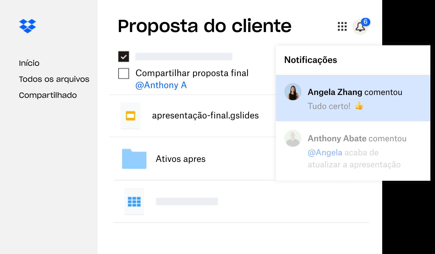 Uma proposta de cliente criada no Dropbox é compartilhada com vários usuários que deixaram comentários.