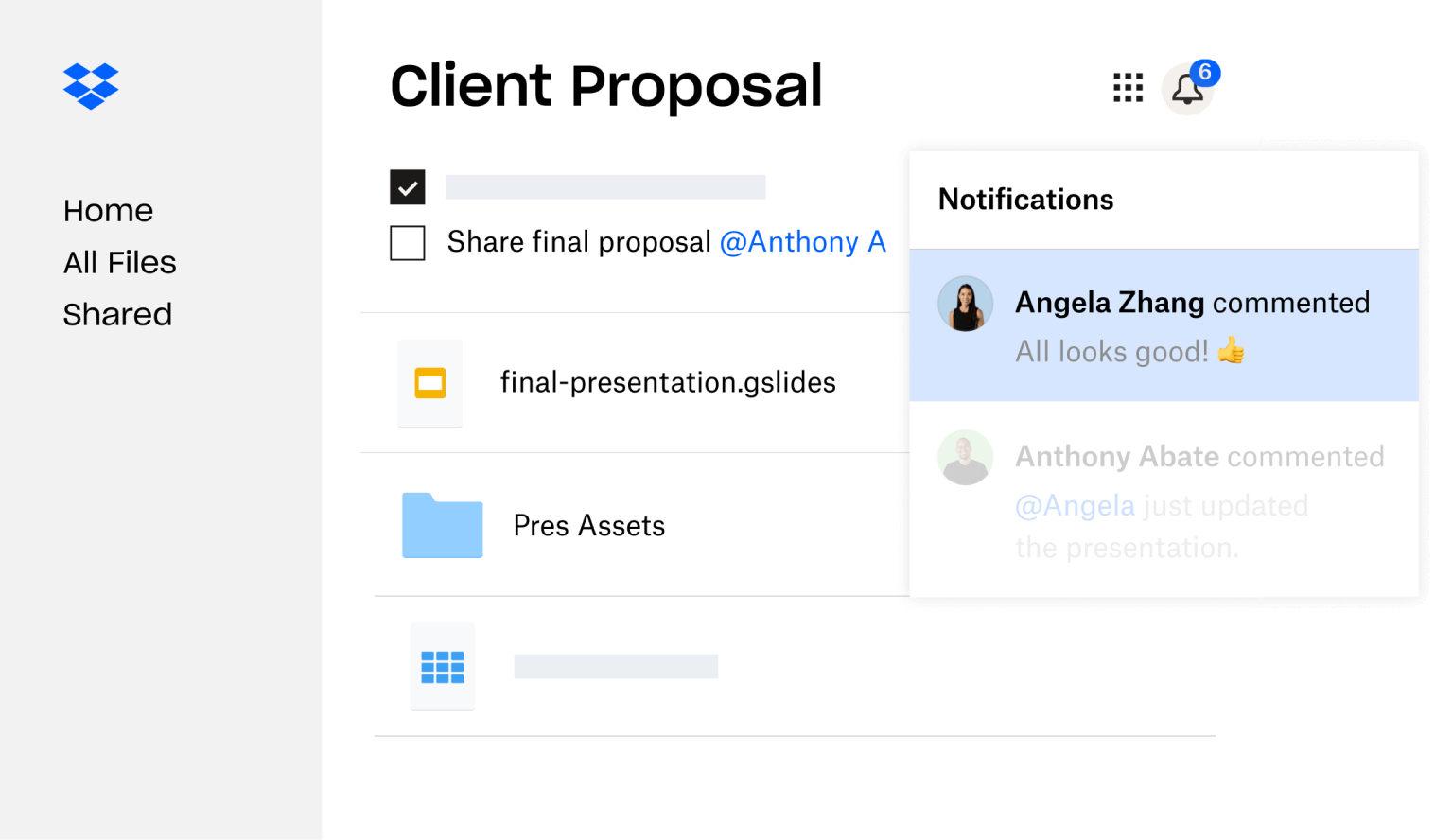 A client proposal created in Dropbox is shared with multiple users who have left feedback.