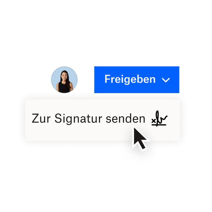 Eine Dropbox-Oberfläche mit Optionen zum Teilen eines Dokuments mit Dropbox oder zum Senden eines Dokuments zur elektronischen Signatur mit HelloSign