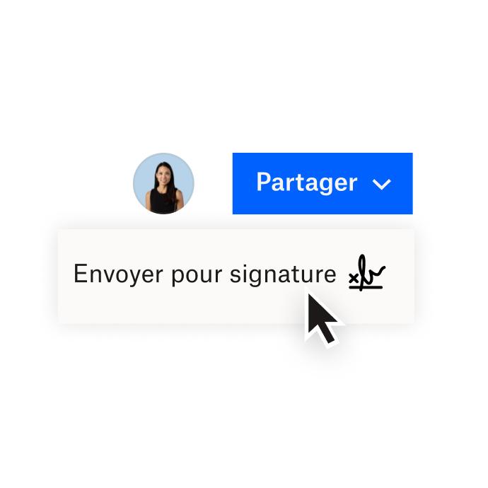 Interface Dropbox montrant des options pour partager un document avec Dropbox ou envoyer un document pour signature électronique avec HelloSign