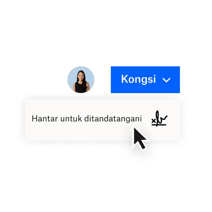 Antara muka Dropbox yang menunjukkan pilihan untuk berkongsi dokumen dengan Dropbox atau menghantar dokumen untuk mendapatkan tandatangan elektronik dengan HelloSign