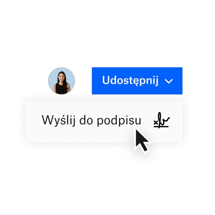 Interfejs Dropbox, na którym widać opcje udostępniania dokumentu w Dropbox lub wysłania go do podpisu elektronicznego w HelloSign