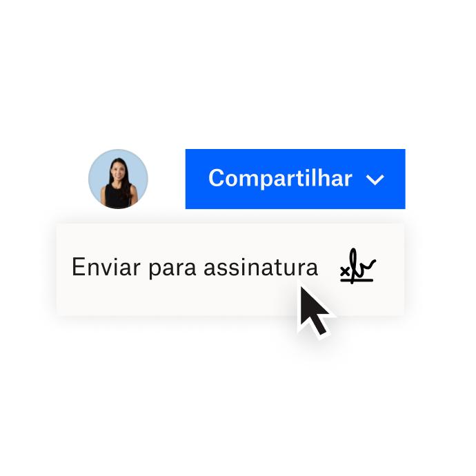 Uma interface do Dropbox mostrando opções para compartilhar um documento com o Dropbox ou enviar um documento para assinatura eletrônica com o HelloSign