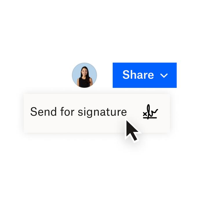 Una interfaz de Dropbox que muestra opciones para compartir un documento con Dropbox o enviar un documento para colocarle una firma electrónica con HelloSign