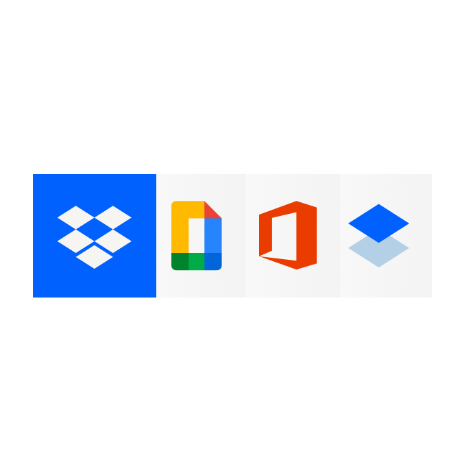 A row of logos indicating that Dropbox supports Google Docs, Microsoft Office and Dropbox Paper.