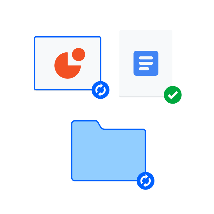 Group of folders and files with a blue and green icons to indicate syncing status.
