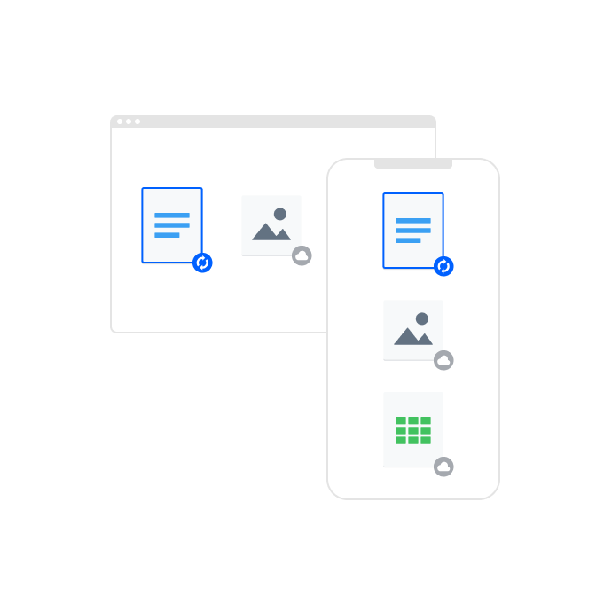 Two device displays, one small and one large, showing that file syncing in Dropbox allows you to sync files across devices.