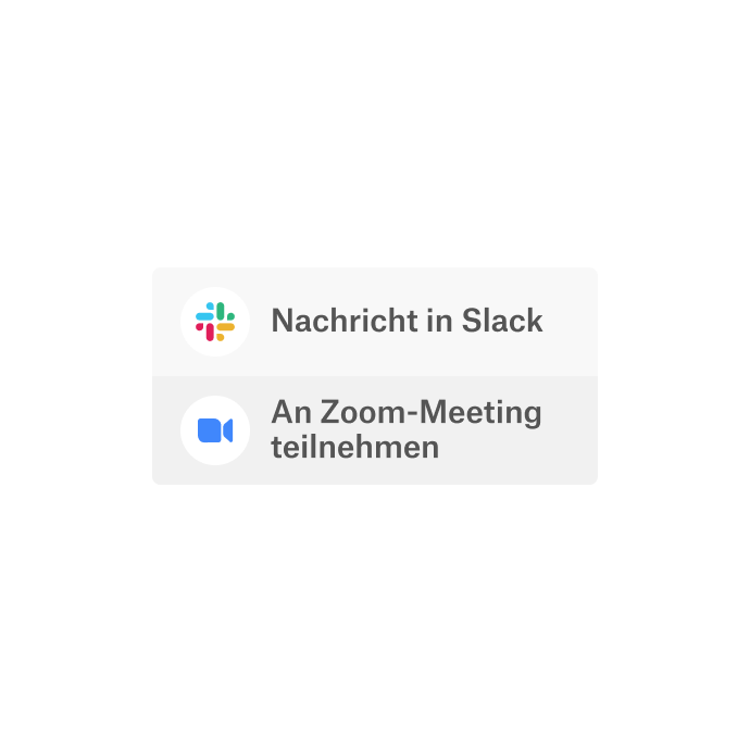 Eine Dropbox-Benutzeroberfläche mit der Option, die integrierten Apps Slack und Zoom für die Kommunikation zu nutzen.