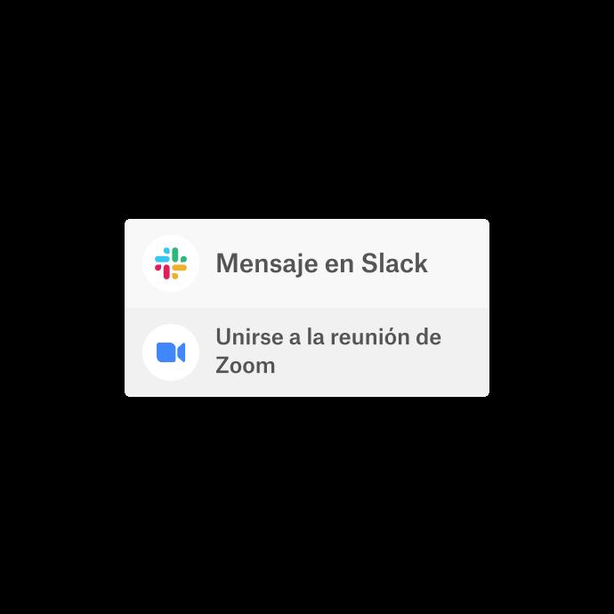 Una interfaz de Dropbox con la opción de usar las aplicaciones integradas, Slack y Zoom, para comunicarse.