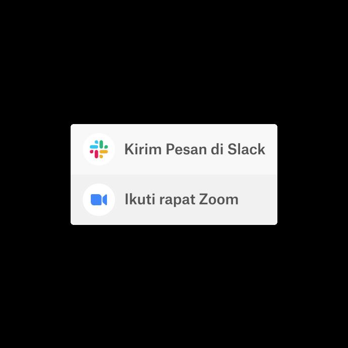 Antarmuka Dropbox dengan opsi untuk menggunakan aplikasi yang terintegrasi, yaitu Slack dan Zoom, untuk berkomunikasi.