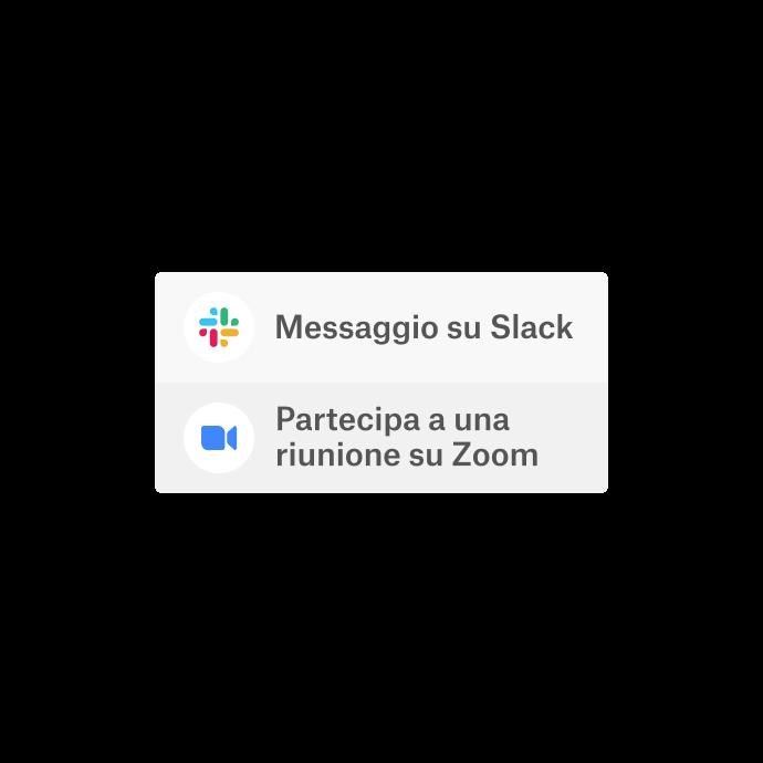 Un'interfaccia Dropbox con un'opzione per utilizzare le app integrate (Slack e Zoom) per comunicare.