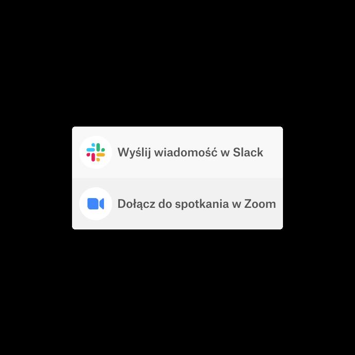 Interfejs Dropbox z opcją korzystania ze zintegrowanych aplikacji – Slack i Zoom – do komunikacji.
