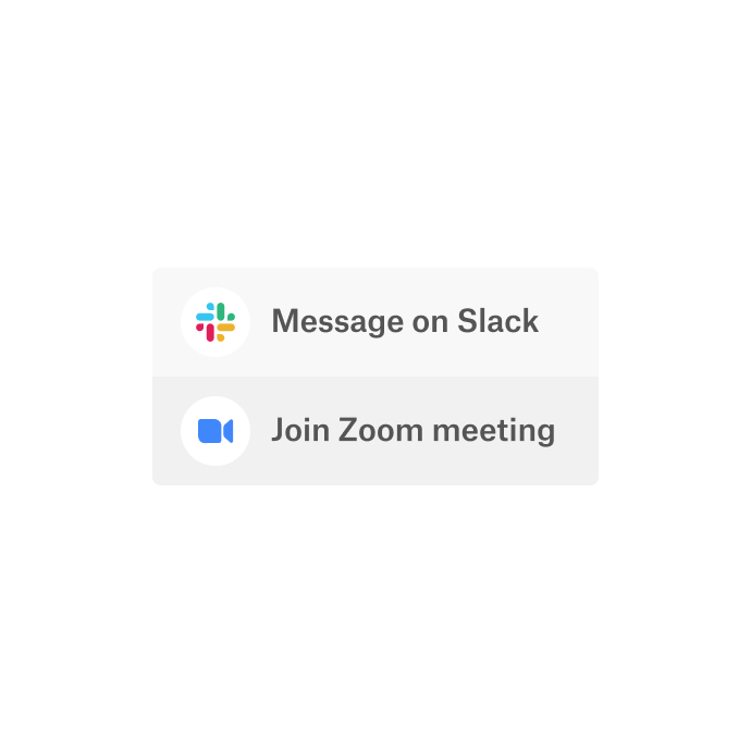 A Dropbox interface with an option to use the integrated apps, Slack and Zoom, to communicate.