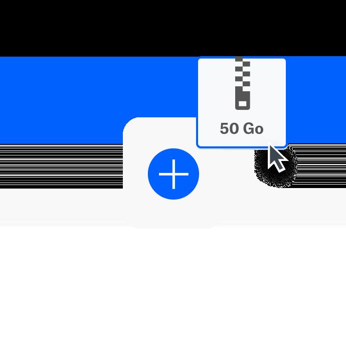 Un utilisateur prépare un fichier de 50Go à envoyer avec DropboxTransfer.