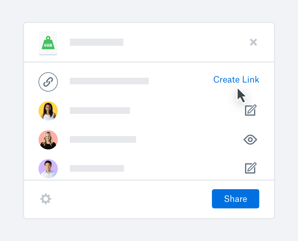 Someone hovers a cursor over the Create Link option, ready to share links to files in their Dropbox account