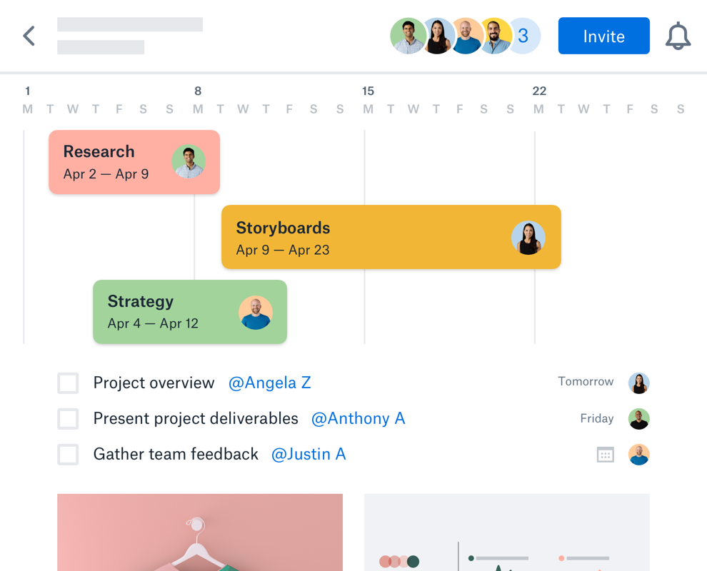 Collaborators work together on a project plan in Dropbox Paper with tasks, timelines and due dates displayed