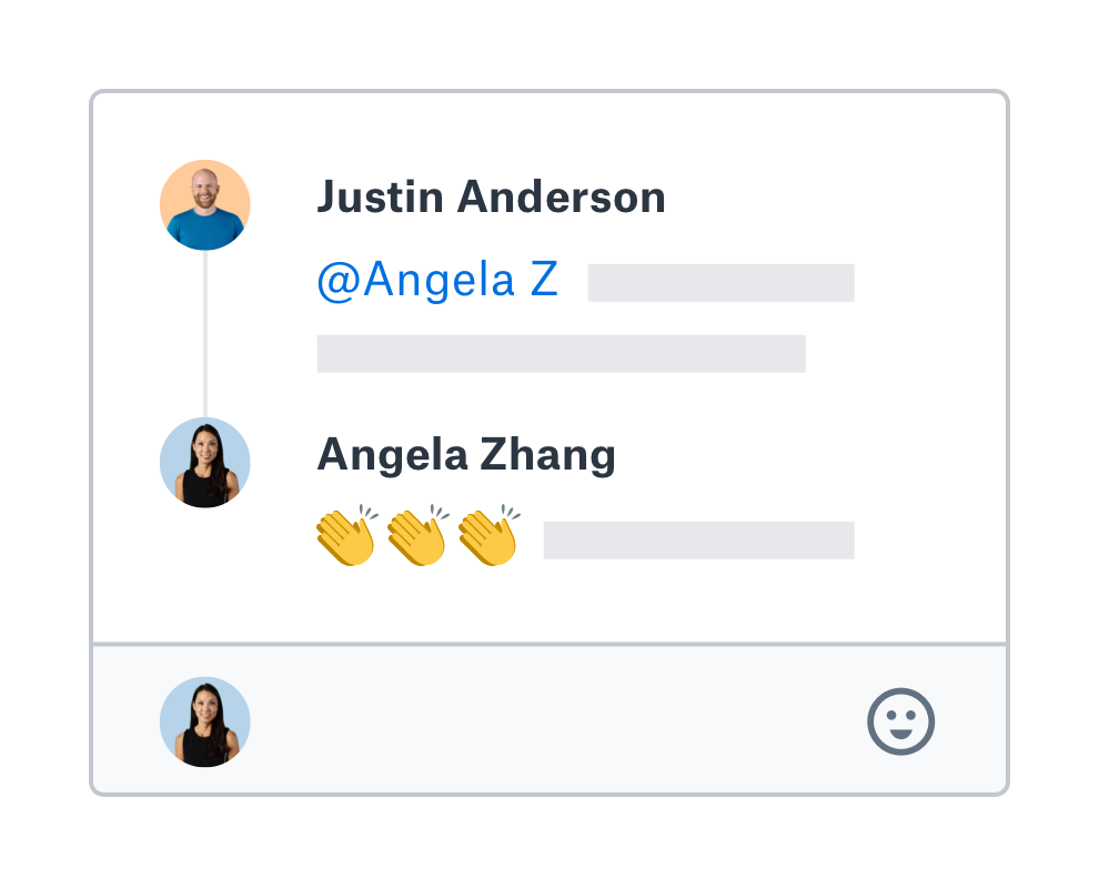Someone adds an annotation to a Dropbox Paper doc and tags a team member, who responds with three clapping hands emojis