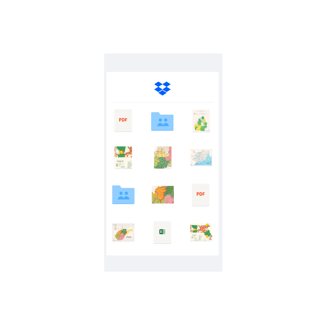 Different file types and folder icons shown in the Dropbox interface