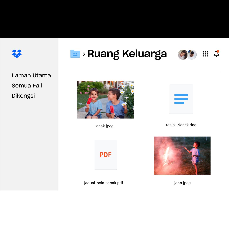Gambaran umum folder fail peribadi yang dikongsi dengan keluarga