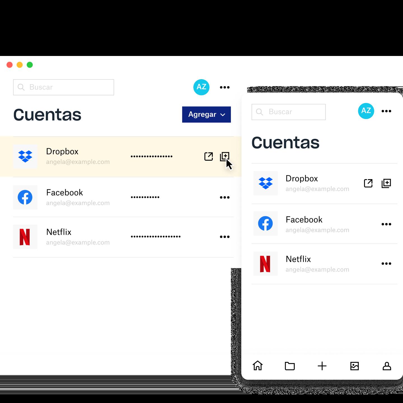 Pantalla de administración de DropboxPasswords donde se muestra información de la cuenta de Dropbox, Facebook y Netflix