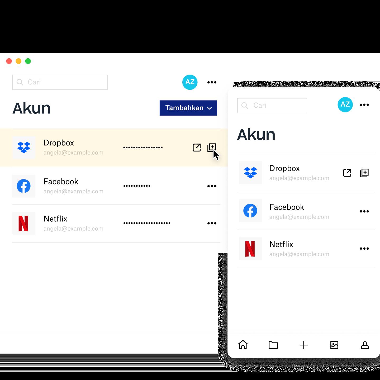 Layar manajer Dropbox Passwords menampilkan informasi akun untuk Dropbox, Facebook, dan Netflix