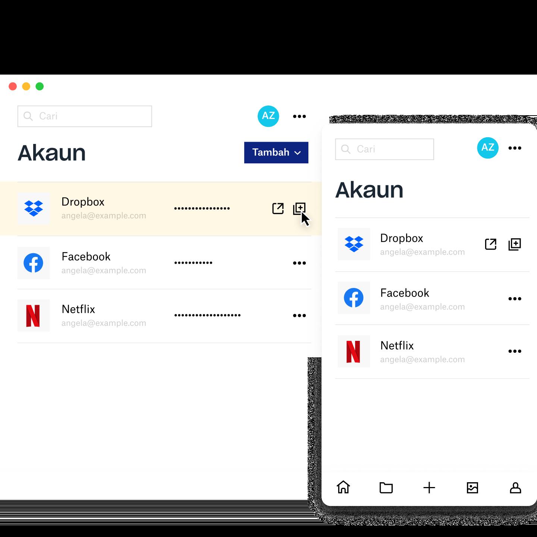Skrin pengurus Dropbox Passwords menunjukkan maklumat akaun untuk Dropbox, Facebook, dan Netflix