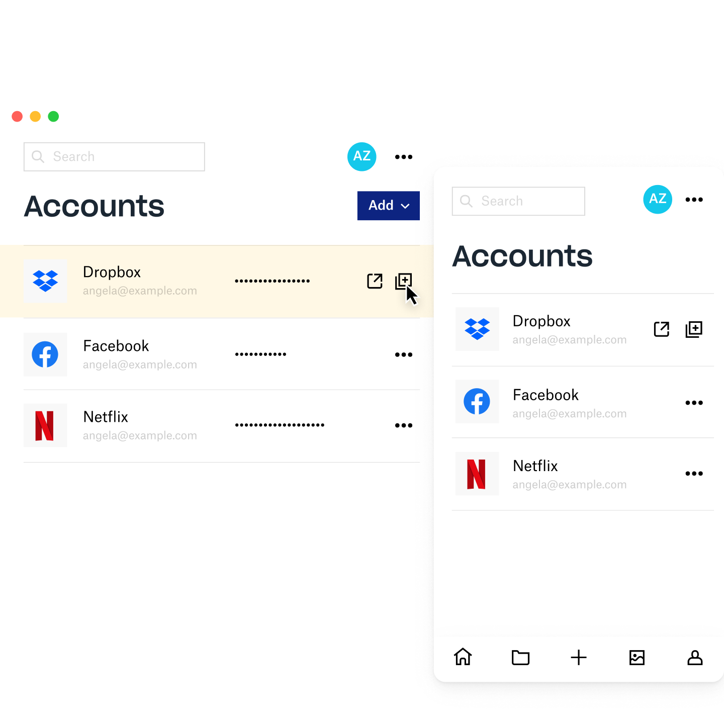 Dropbox Passwords manager screen showing account information for Dropbox, Facebook, and Netflix