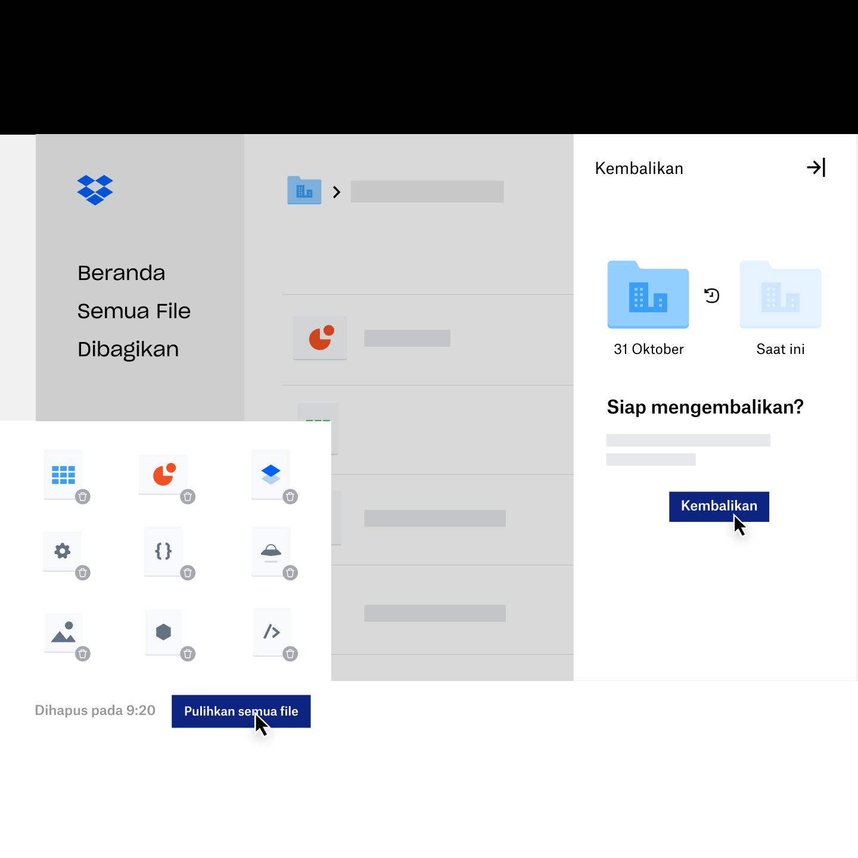 Seorang pengguna diminta menggunakan Pengunduran Dropbox untuk memulihkan file lama